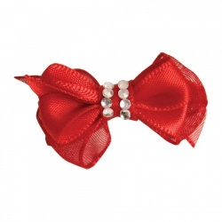 Mollettina CRYSTAL HAIR BOW (rosso)
