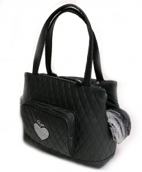 (NEW 2020) Borsa Trasportino HEART GLAMOROUS BAG (Nero)